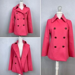 J Crew pink wool blend thinsulate lined pea coat S